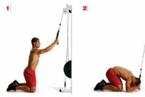 cable crunch, weighted rope crunch, how to get abs